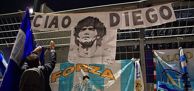 Foto: Eerbetoon Diego Maradona in Rotterdam beklad